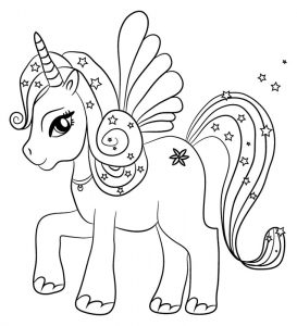 colorear unicornio kawaii