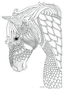 silueta de unicornio para coloear